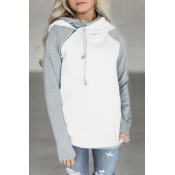 Lovely Leisure Hooded Collar Patchwork White Blend