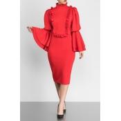 Vintage Mandarin Collar Trumpet Sleeves Ruffle Design Red Polyester Knee Length Dress