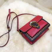 Fashion Pearl Decorative Red Leather Crossbody Bag