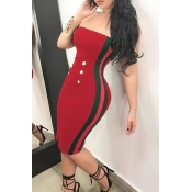 Sexy Bateau Neck Button Decorative Striped Red Polyester Knee Length Dress