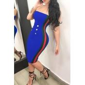 Sexy Bateau Neck Button Decorative Striped Blue Polyester Knee Length Dress