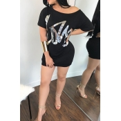 Casual Sloping Shoulder Letters Of Hot Stamping Black Cotton Blend Mini Dress