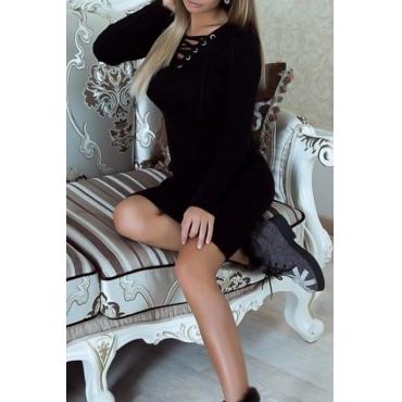 Sexy V Neck Lace-up Black Polyester Knee Length Dress
