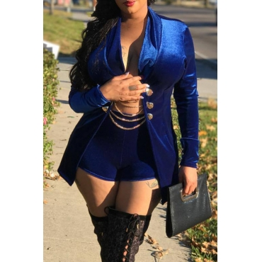 Sexy Turndown Collar Chains Decoration Royalblue Velvet Two-piece Short Set