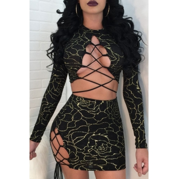 Sexy Round Neck Lace-up Hot Stamping Printed Black Polyester Two-piece Skirt Set