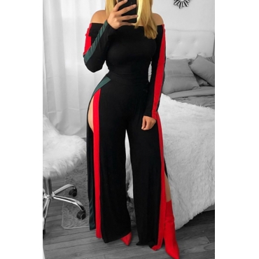 Leisure Bateau Neck Slit Design Black Polyester One-piece Jumpsuits