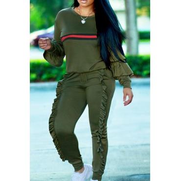 Euramerican Round Neck Ruffle Design Green Blending Two-Piece Pants Set