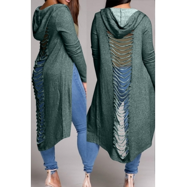 Casual Hooded Collar Hollow-out Green Polyester Coat