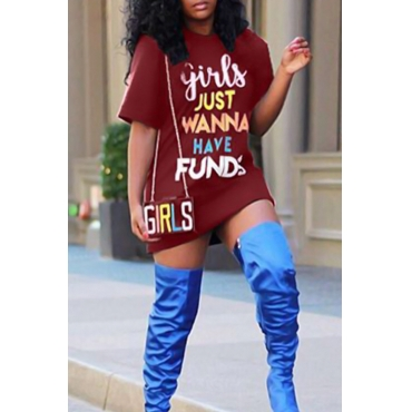 Casual Round Neck Letters Printed Wine Red Polyester Mini Dress