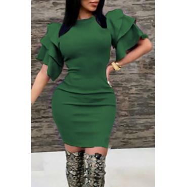 Sexy Vestido De Longitud De Rodilla De Poliéster Verde