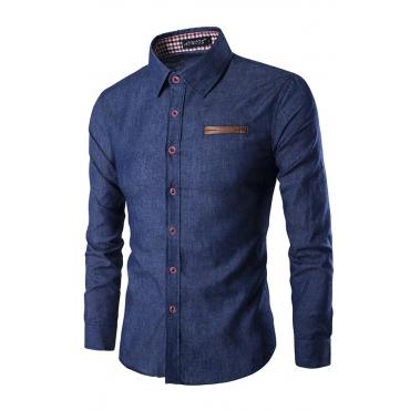 Lovely Stylish Turndown Collar Long Sleeves Deep Blue Denim Shirts