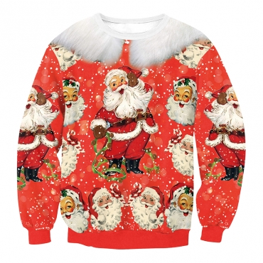 Euramerican Round Neck Father Christmas Print Red Polyester Hoodies