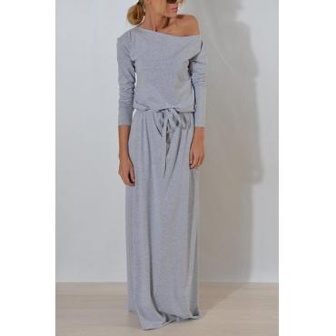 Lovely Casual Round Neck Dew Shoulder Grey Cotton Blend Floor length Dress
