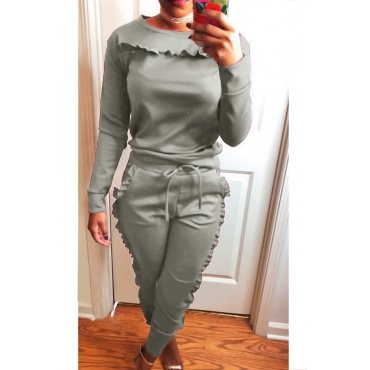 Casual Round Neck Ruffle Design Grey Blending Two-piece Pants Set