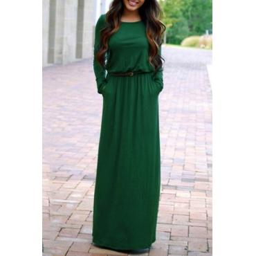 Lovely Casual Round Neck Beam Waist Green Polyester Floor Length Dress(With Belt)