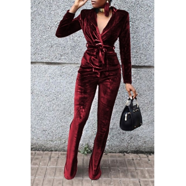 Fashion Turndown Collar Belted Wine Red Velvet Two-Piece Pants Set(Without Accessories)