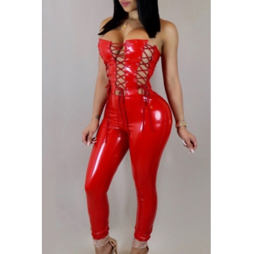 Sexy Strapless Lace-up Hollow-out Red Leather One-piece Jumpsuits