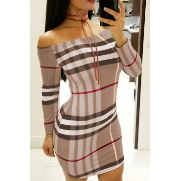 Sexy Bateau Neck Striped Printed Brown Cotton Blend Mini Dress(Without Necklace)