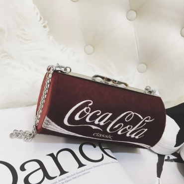 Fashionable Cylinder Design Red Velvet Crossbody Bag
