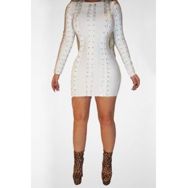 Polyester Fashion O neck Cap Sleeve Long Sleeve Sheath Mini Dresses