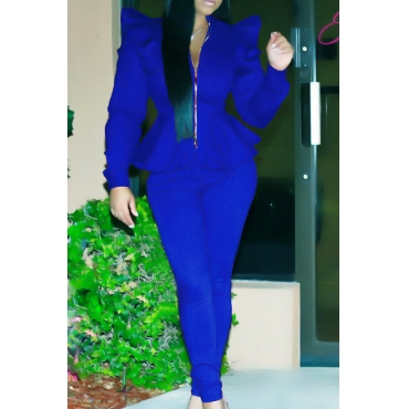 Fashion Mandarin Collar Falbala Design Blue Polyester Two-Piece Pants Set