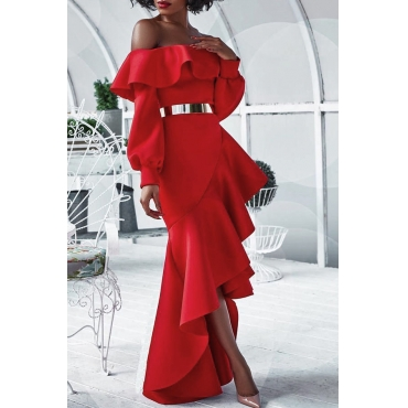 Sexy Bateau Neck Falbala Design Red Healthy Fabric Ankle Length Dress(Without Belt)
