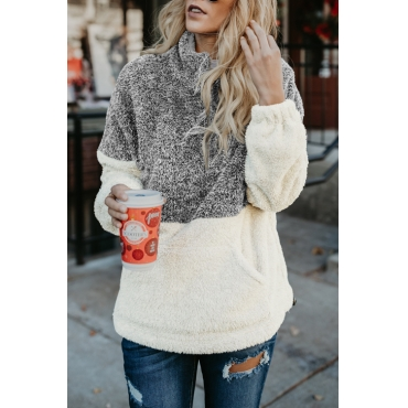 Lovely Leisure Mandarin Collar Long Sleeves Patchwork Grey Velvet Hoodies