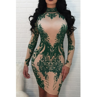 Sexy Mandarin Collar Printed Green Polyester Mini Dress