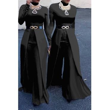 Diseño De Piernas Anchas De Cuello Redondo De Moda Mezclas De Algodón Negro Monos De Una Pieza (sin Accesorios)