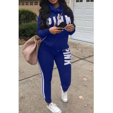 Casual Heaps Collar Letters Printed Striped Royalblue Qmilch Two-Piece Pants Set