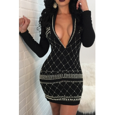 Sexy Turndown Collar Hot Silver Design Pearl Trim Black Polyester Mini Dress