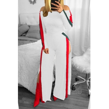 Leisure Bateau Neck Slit Design White Polyester One-piece Jumpsuits