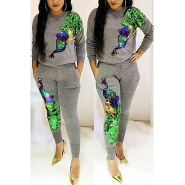 Casual Round Neck Peacock Sequined Decorative Grey Polyester Two-piece Pants Set