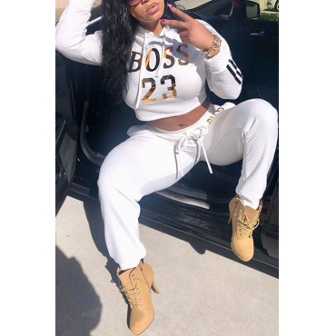 Casual Hooded Collar Gilding Letters White Blending Two-piece Pants Set