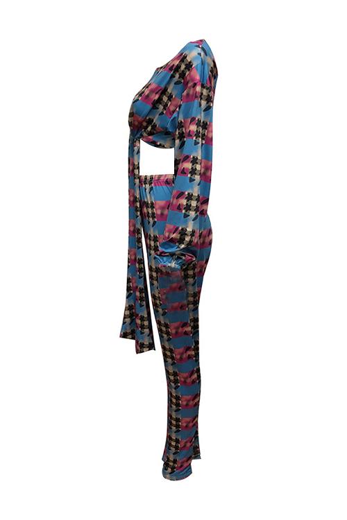 Moda Cuello Redondo Nudo Diseño Impreso Qmilch Dos Piezas Conjunto De Pantalones