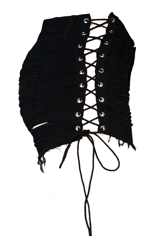 Pantalones Casuales De Media Cintura Rotos Con Cordones De Mezclilla Negra Con Cremallera