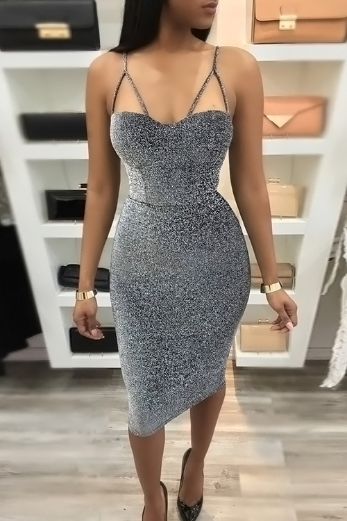 Sexy Correa De Espagueti Sin Mangas De Plata Mezcla De Longitud Vestido Hasta La Rodilla