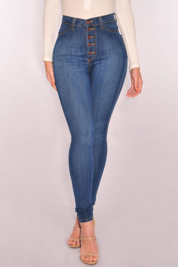 Trendy High Waist Button Design Baby Blue Denim Jeans