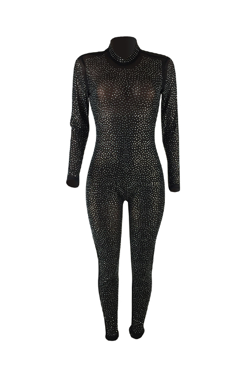 Trendy Turtleneck See-Through Hot Drilling Decorative Black Polyester One-piece Jumpsuits