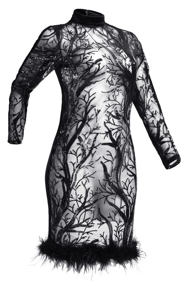 Encantador Cuello Alto Sexy Transparente Lentejuelas Decoración Maomao Dobladillo Negro Poliéster Hasta La Rodilla Vestido