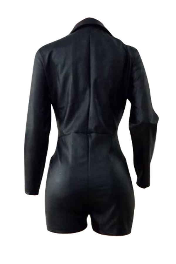 Diseño De La Cremallera Del Cuello De La Manera Encantadora Negro Mono De La PU De Una Sola Pieza Del Cortocircuito