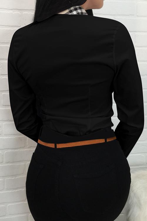 Cuello Redondo De La Moda Remiendo Del Solo Pecho Camisas Negras Del Poliéster