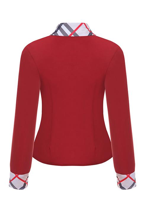 Мода Оборванных Воротник Лоскутное Однобортный Красный Полиэстер Рубашки