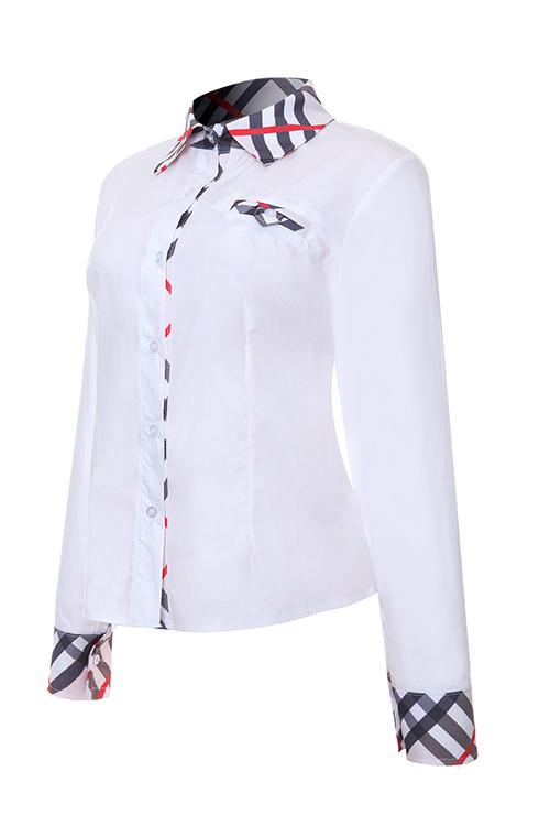 Colar De Abertura De Cama De Moda Patchwork Single Breasted Camisas Brancas De Poliéster