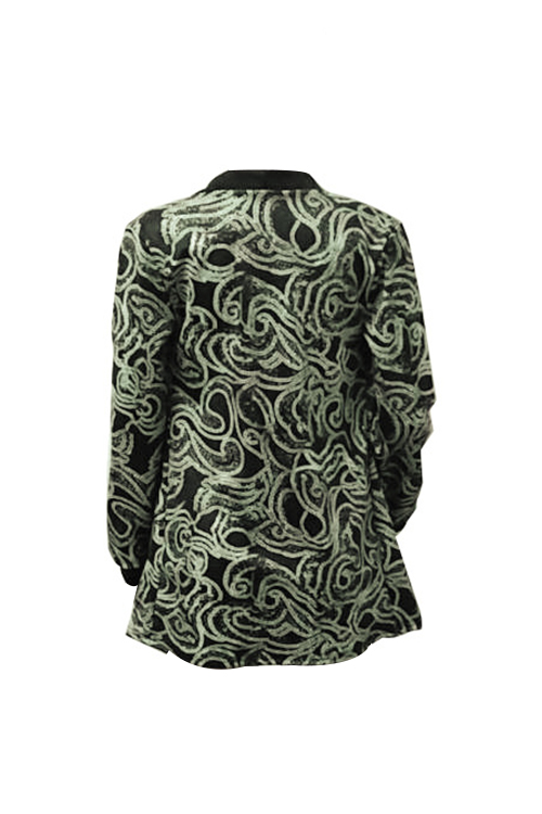 Мода V Шеи Длинные Рукава Печатные Зеленые Полиэстер Двух Частей Шорты Набор