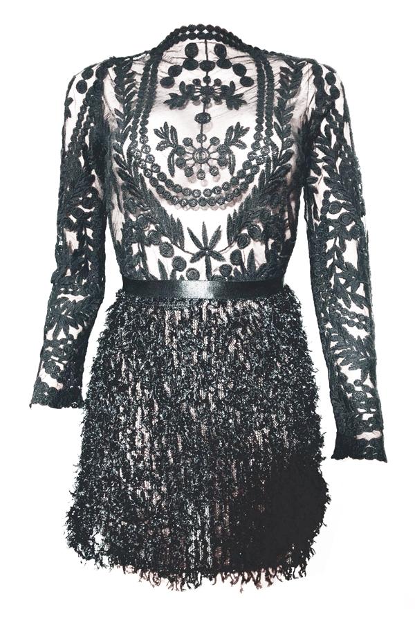 Sexy Mandarin Воротник Перо Украшение Вышивка Дизайн Черный Полиэстер Комплект Из Двух Частей Юбка