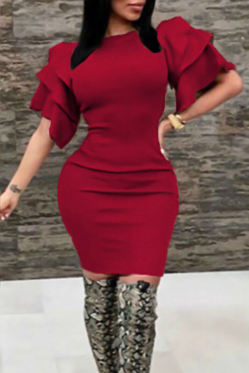 Sexy Cuello Redondo Con Volantes Mangas Vino Rojo Poliéster Vestido Largo Hasta La Rodilla