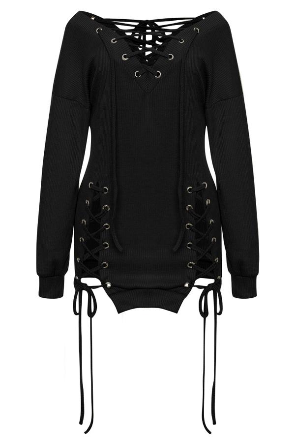 Sexy V Neck Eyelets Design Lace-up Black Polyester Mini Dress