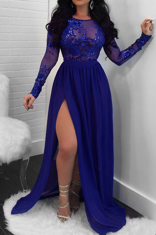 Lovely Sexy Round Neck See-Through Backless Sequins Decoration  Side Slit Blue Milk Fiber Maxi Dress
