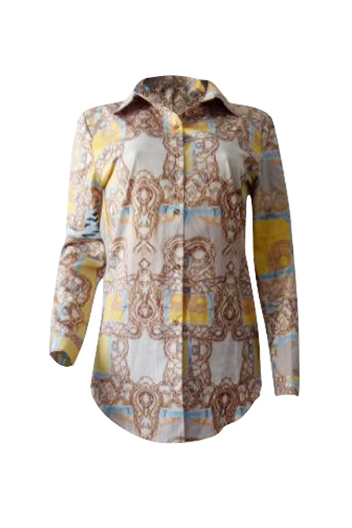 Lovely Leisure Turndown Collar Long Sleeves Printed Polyester Shirts